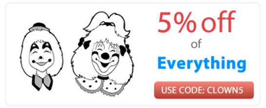 5% off of all Clown Supplies (CLOWN5)